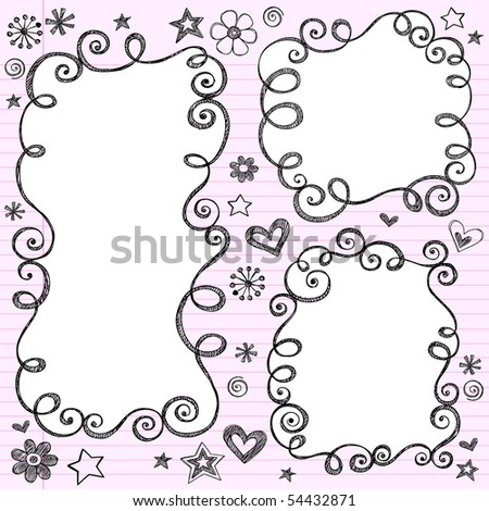 Hand-Drawn Sketchy Swirly Cloud Shaped Bubble Doodle Frames- Notebook Doodles on Pink Lined Paper Background- Vector Illustration