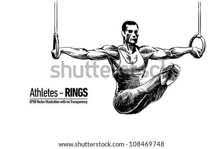 Hand-drawn Sketchy Vector Illustration of Gymnastics Sportsman | Rings