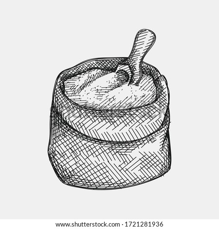 Hand-drawn sketh of flour in bag with a flour shovel on a white background. Wheat and Flour ingredient. Wheat and Flour production and making.