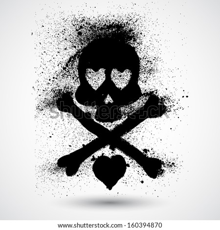 hand drawn skull doodle vector