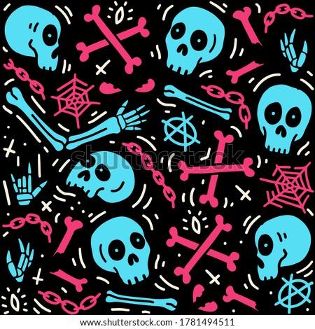 Hand drawn skull elements pattern. Skull background. Skull doodle illustration. Vector illustration. Seamless pattern with skull, bones, spider and chain