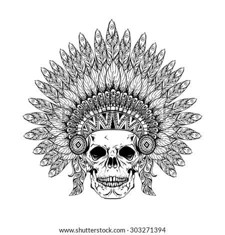 hand drawn skull in zentangle
