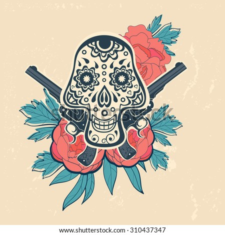 hand drawn skull with guns and