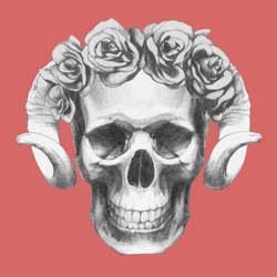 Hand-drawn Skull with horns and floral head wreath. Vector isolated elements