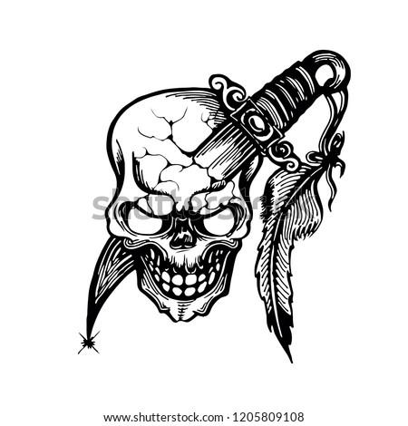 Stock Photo Hand Drawn Skulls And Blade Tattoo Design Vector