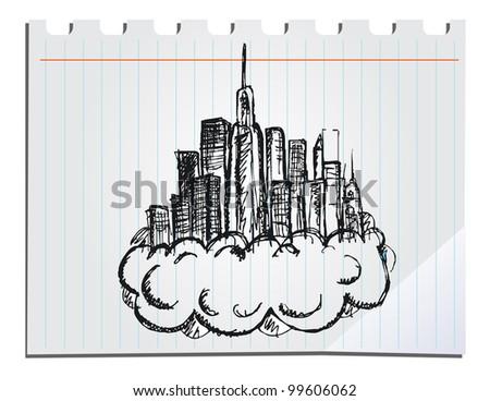 hand drawn skyscrapers - stock vector