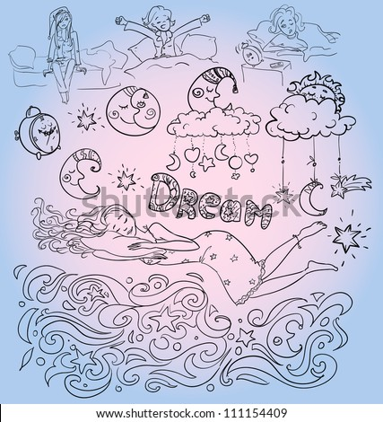 hand drawn sleeping dreaming