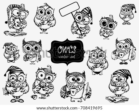 hand drawn sleepy owls  with