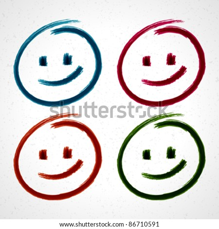 Hand drawn smile face Vector design elements set eps 10.