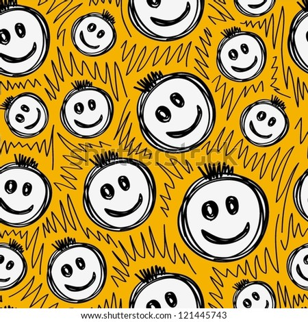 Hand drawn smiling emoticons, Seamless pattern.