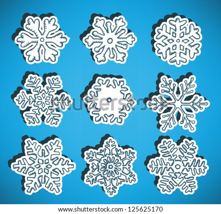 Hand drawn snow flakes collection - stock vector