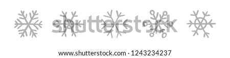 Hand drawn snowflake vector icon collection, winter snow symbol