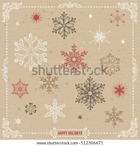 hand drawn snowflakes set with...