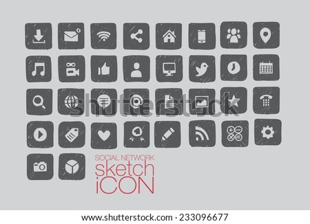Hand drawn social media icon set - illustrator