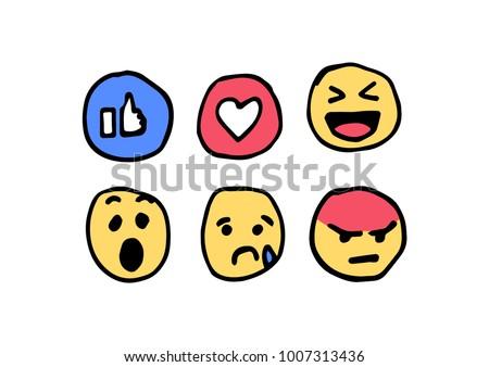 Hand drawn social media reactions vector. - Shutterstock ID 1007313436