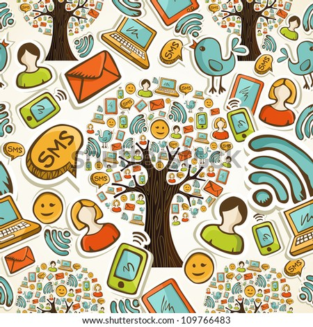 Hand drawn social network icons tree in seamless pattern background. Vector illustration layered for easy manipulation and custom coloring.