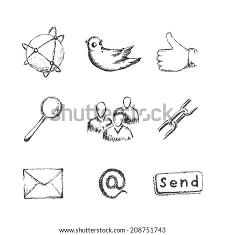 Hand drawn social network icons with links twitter bird mail like hand chain links people chat global network  and other