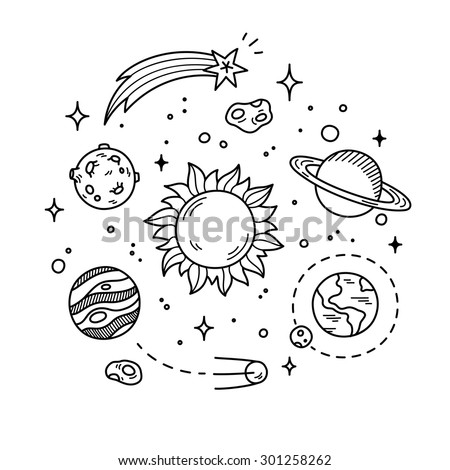 hand drawn solar system with