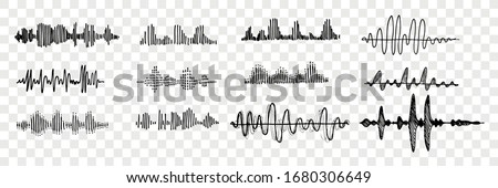 Hand drawn sound waves set collection. Pen or pencil hand drawn various black sound waves. Sketch of voice recording, radio signal frequency, white noise volume elements tune equalizer. Vector