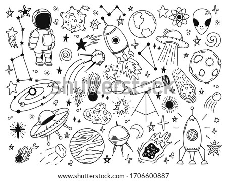 Hand drawn space. Doodle space planets, astrology cosmic doodles, telescope, cosmic rocket, spacecrafts. Universe doodle vector illustration set. Rocket astronaut, spacecraft satellite