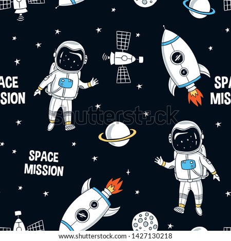 Hand drawn space elements seamless pattern. Space background. Space doodle illustration. Vector illustration. Seamless pattern with cartoon astronauts, space rockets, planets, stars, slogans