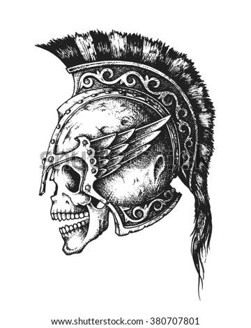 hand drawn spartan warrior