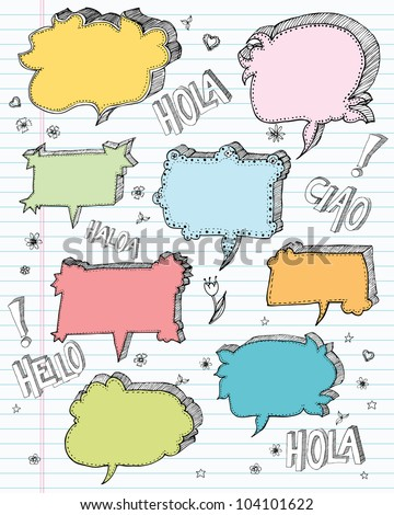 Hand drawn speech bubble doodles in a cartoon style and in pastel colours on a lined notebook page. From original pen drawing. Each element is clearly labelled on separate layers for easy editing.