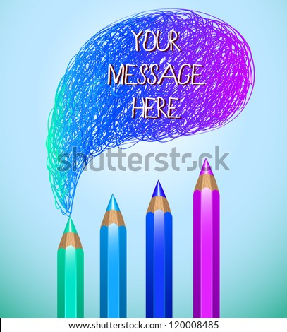 Hand drawn speech bubble with pencils (blue)- vector illustration for your business presentations.