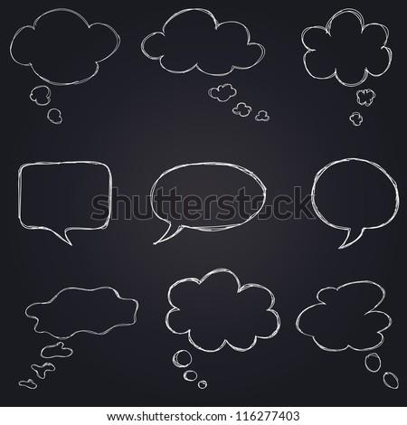 hand drawn speech bubbles chalk set on blackboard