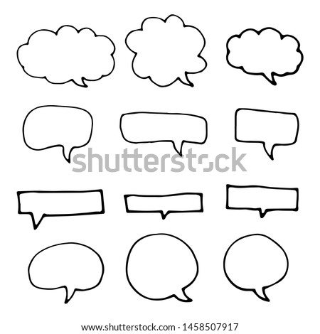 Hand drawn speech bubbles. Doodle style thinking balloons isolated on white background