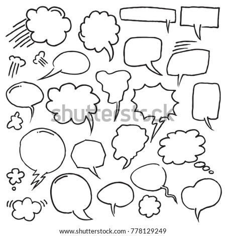 Hand Drawn Speech Bubbles in outline style. Vector Illustration