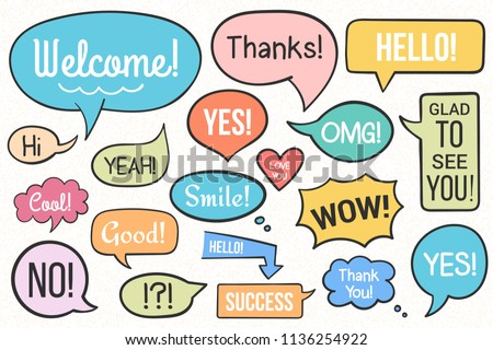 Hand drawn speech bubbles with different text, vector eps10 illustration #1136254922