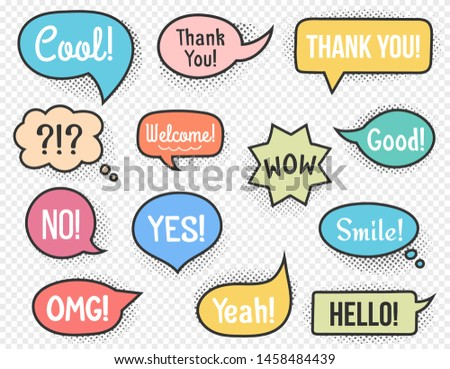 Hand drawn speech bubbles with different words and phrases, halftone shadows, vector eps10 illustration