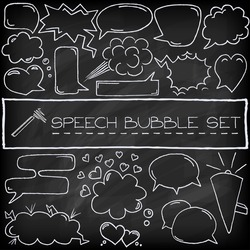 Hand drawn speech bubbles with hearts and clouds, chalkboard effect. Vector illustration.