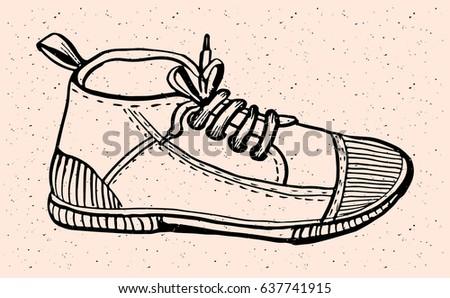 hand drawn sport gym shoes