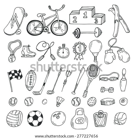 Hand drawn sport icon set. Fitness and sport. Vector illustration