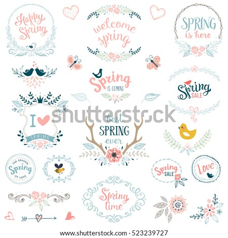 Hand drawn spring collection with typographic design elements. Vector illustration.