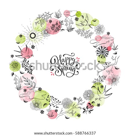 Hand drawn spring objects frame. Collection of spring accessories in circle shape isolated on white background. Happy spring greeting card. #588766337