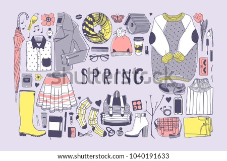 hand drawn spring pattern cute