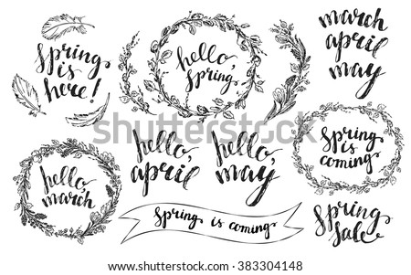 hand drawn spring wreaths with