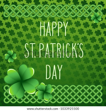 stock-vector-hand-drawn-st-patrick-s-day-greetings-over-dark-green-background-with-clover-leaves-and-celtic