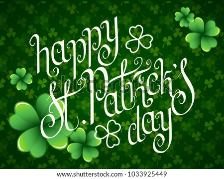 stock-vector-hand-drawn-st-patrick-s-day-greetings-over-dark-green-background-with-clover-leaves-irish-holiday