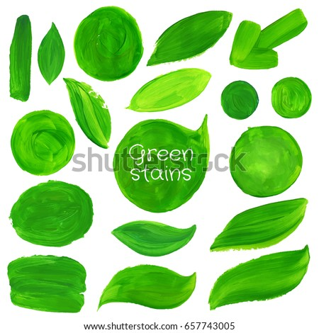 Hand drawn stains set. Vector green abstract hand drawn watercolor background. Natural, organic food, bio, eco labels and shapes on white background.
