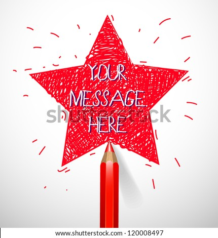 Hand drawn star shape with pencil - vector illustration for your business presentations.