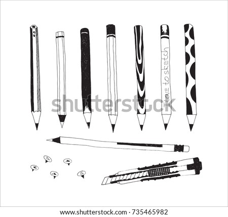 Hand drawn stationery and art supplies set. Vector doodle illustration. Set of school accessories and tools. Pencils, Cutter, Push pins.