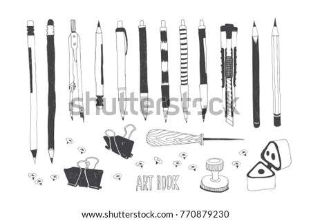 Hand drawn stationery and art supplies. Vector doodle illustration. Set of school accessories and tools. Pen, Pencil, Cutter, Stylu, Push Pin, Sharpener; Binder Paper Clip, Mathematical Compass. Zdjęcia stock ©
