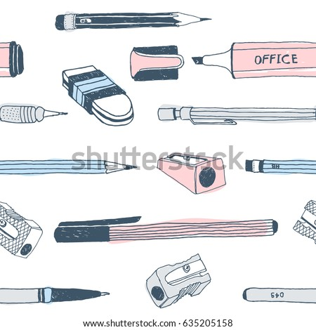 Hand drawn stationery seamless pattern. Vector doodle illustration. School accessories, supplies and tools. Pencil, Pen, Marker, Stylus, Highlighter, Sharpener, Eraser, Rubber.