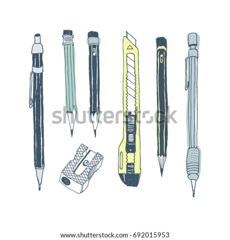 Hand drawn stationery set. Vector color illustration. Set of school accessories and supplies. Doodle tools composition. Pencil, Cutter, Sharpener.