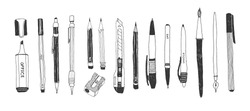 Hand drawn stationery set. Vector doodle illustration. Set of school accessories and supplies. Tools composition. Pencil, Pen, Marker, Brush, Stylus, Highlighter, Cutter.