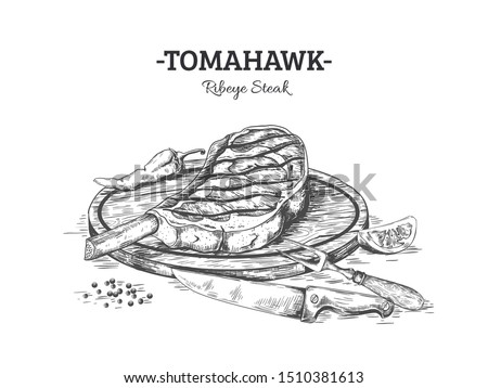 Hand drawn steak. Beef or pork meat cut on wooden board with salt and pepper, grilled meat sketch. Vector black illustration engrave sliced sirloin with knife and fork on white background